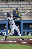 Western Michigan Broncos shortstop Drew Devine (3) swings the bat against the Michigan Wolverines on March 18, 2019 in the NCAA baseball game at Ray Fisher Stadium in Ann Arbor, Michigan. Michigan defeated Western Michigan 12-5. (Andrew Woolley/Four Seam Images)