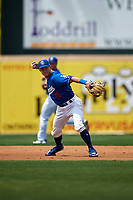 Rancho Cucamonga Quakes third baseman Rylan Bannon (25) makes a throw to first base during a California League game against the Lake Elsinore Storm at LoanMart Field on May 20, 2018 in Rancho Cucamonga, California. Rancho Cucamonga defeated Lake Elsinore 6-2. (Zachary Lucy/Four Seam Images)