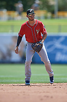 Javy Guerra (5) of the El Paso Chihuahuas on defense against the Salt Lake Bees at Smith's Ballpark on July 8, 2018 in Salt Lake City, Utah. El Paso defeated Salt Lake 15-6. (Stephen Smith/Four Seam Images)