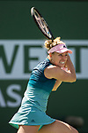 March 9, 2019: Angelique Kerber (GER) hit a backhand during her match where she defeated Yulia Putintseva (KAZ) 6-0, 6-2 at the BNP Paribas Open at the Indian Wells Tennis Garden in Indian Wells, California. ©Mal Taam/TennisClix/CSM