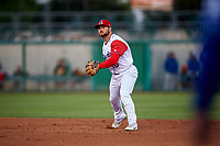 Stockton Ports second baseman Nate Mondou (10) prepares to make a throw to first base during a California League game against the Rancho Cucamonga Quakes at Banner Island Ballpark on May 16, 2018 in Stockton, California. Rancho Cucamonga defeated Stockton 6-3. (Zachary Lucy/Four Seam Images)