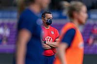 ORLANDO, FL - FEBRUARY 21: Vlatko Andonovski of the USWNT watches his team before a game between Brazil and USWNT at Exploria Stadium on February 21, 2021 in Orlando, Florida.