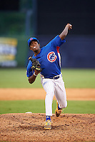 Pitcher Dion Henderson (27) of DH Conley High School in Greenville, North Carolina playing for the Chicago Cubs scout team during the East Coast Pro Showcase on July 29, 2015 at George M. Steinbrenner Field in Tampa, Florida.  (Mike Janes/Four Seam Images)