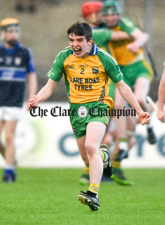 Marc Barry of Inagh-Kilnamona celebrates following their Minor A county final win over Kilmaley at Cusack Park. Photograph by John Kelly.