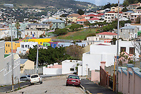 South Africa, Cape Town.  Upper Levels of Bo-kaap, Cape Town's Muslim Neighborhood.