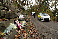 Pictured: Police in the lane leading to the farm where the house that burned is located in Llangammarch Wells, Powys, Wales, UK. Tuesday 31 October 2017<br />