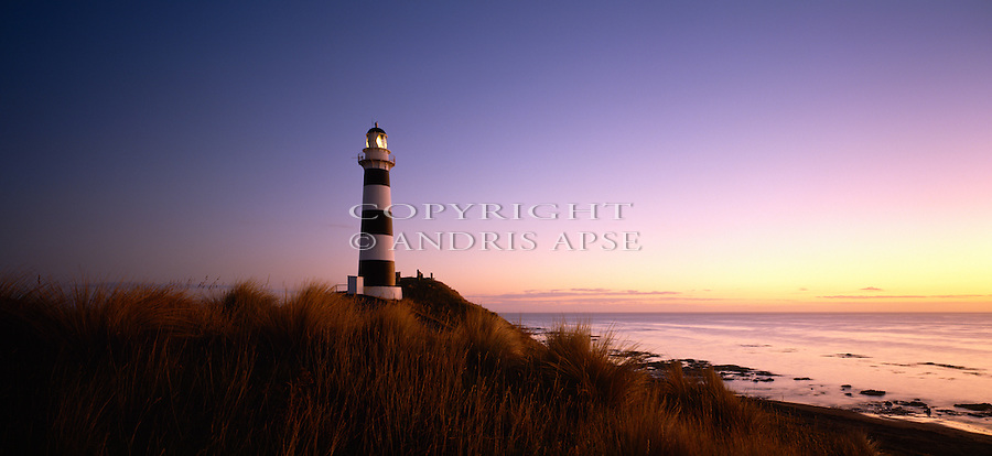 Dawn at Cape Campbell lighthouse. Marlborough New Zealand.