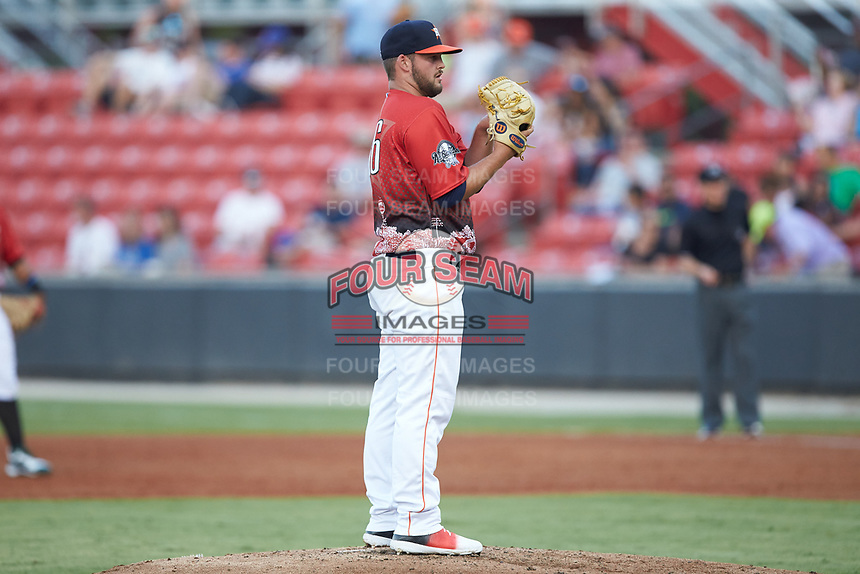 South Division pitcher Brett Adcock (36) of the Buies Creek Astros in action during the 2018 Carolina League All-Star Classic at Five County Stadium on June 19, 2018 in Zebulon, North Carolina. The South All-Stars defeated the North All-Stars 7-6.  (Brian Westerholt/Four Seam Images)