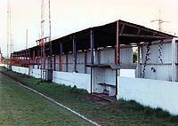 The main stand at Rainham Town Football Club, Deri Park, Rainham, Essex, pictured on 2nd February 1992