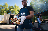 BZD Construction owner Blake Dilullo preps fat stacks of Gyros during the Holy Transfiguration Greek Orthodox Church's 21st annual Greek Festival.