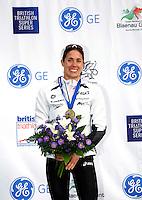 Photo: Richard Lane/Richard Lane Photography. GE Parc Bryn Bach Triathlon. 19/09/2010. Helen Jenkins of Wales celebrates after winning the Elite womens' race.