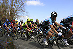 The peloton approaches the start of the Oude Kwaremont climb during the 96th edition of The Tour of Flanders 2012, running 256.9km from Bruges to Oudenaarde, Belgium. 1st April 2012. <br /> (Photo by Steven Franzoni/NEWSFILE).