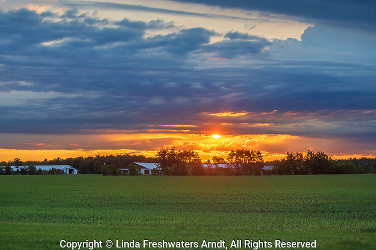 Sunrise over a farm in northern Wisconsin.