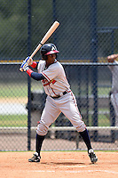 GCL Braves outfielder Erison Mendez (30) at bat during a game against the GCL Yankees 2 on June 23, 2014 at the Yankees Minor League Complex in Tampa, Florida.  GCL Yankees 2 defeated the GCL Braves 12-4.  (Mike Janes/Four Seam Images)
