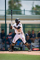 GCL Pirates third baseman Cristopher Perez (10) at bat during a game against the GCL Braves on July 26, 2017 at Pirate City in Bradenton, Florida.  GCL Braves defeated the GCL Pirates 12-5.  (Mike Janes/Four Seam Images)