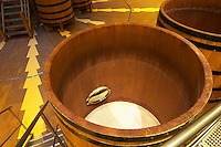 A view inside a wooden fermentation vat tank, Maison Louis Jadot, Beaune Côte Cote d Or Bourgogne Burgundy Burgundian France French Europe European