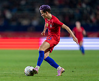 CARSON, CA - FEBRUARY 7: Megan Rapinoe #15 of the United States passes the ball during a game between Mexico and USWNT at Dignity Health Sports Park on February 7, 2020 in Carson, California.