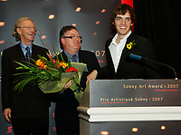 Michel de Broin, winner of the 2007 Sobey Art Award, presented by Scotiabank with Donald Sobey, Chair, Sobey Art Foundation and Jeffrey Spalding, Director, Art Gallery of Nova Scotia. Canada's premier art award of $50,000 was announced this evening at the Art Gallery of Nova Scotia in Halifax. (CNW Group/Scotiabank - Sponsorships & Donations)