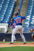 Jake Slaughter (23) of Ouachita Christian School in Monroe, Louisiana playing for the New York Mets scout team during the East Coast Pro Showcase on July 28, 2015 at George M. Steinbrenner Field in Tampa, Florida.  (Mike Janes/Four Seam Images)