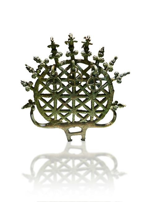 """Bronze Age Hattian ceremonial standard known as """"Sun Disks"""" from Bronze Age grave BM (2500 BC to 2250 BC), possibly a Royal grave - Alacahoyuk - Museum of Anatolian Civilisations, Ankara, Turkey. Against a white background"""