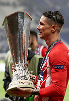 Club Atletico de Madrid's Fernando Torres holds the trophy at the end of the UEFA Europa League final football match between Olympique de Marseille and Club Atletico de Madrid at the Groupama Stadium in Decines-Charpieu, near Lyon, France, May 16, 2018. Club Atletico de Madrid won 3-0.<br /> UPDATE IMAGES PRESS/Isabella Bonotto