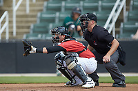 Piedmont Boll Weevils catcher Michael Hickman (37) sets a target as home plate umpire Tanner Moore looks on during the game against the Greensboro Grasshoppers at Kannapolis Intimidators Stadium on June 16, 2019 in Kannapolis, North Carolina. The Grasshoppers defeated the Boll Weevils 5-2. (Brian Westerholt/Four Seam Images)
