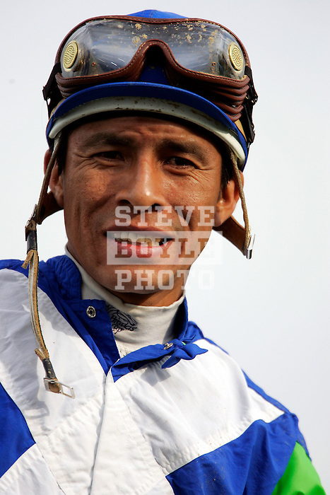 Jockey Edgar Prado aboard Barbaro celebrates the win immediately following the 132nd running of the Kentucky Derby at Churchill Downs in Louisville, Kentucky on May 6, 2006..