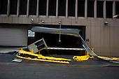 New York, New York.October 30, 2012..A flooded garage in lower Manhattan after Hurricane Sandy.