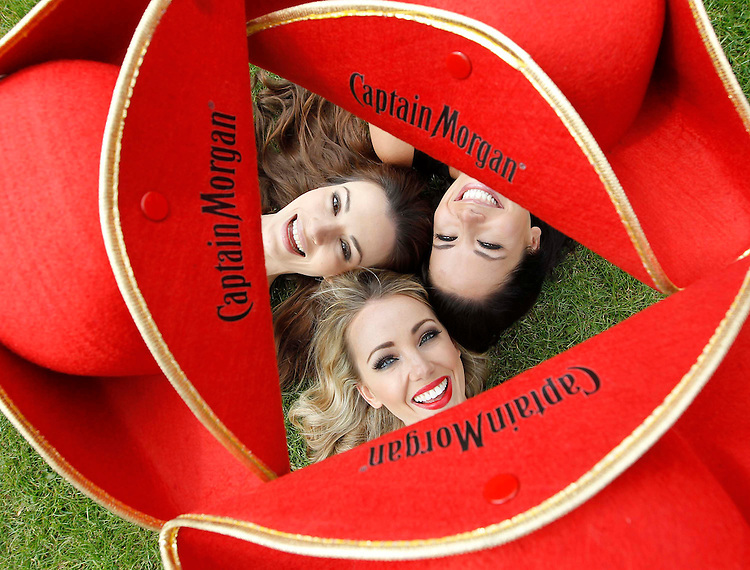 """""""The Morganettes"""" Karen Fitzpatrick (left),Suzanne McCabe  and Michelle McGrath (right) announcing that Captain Morgan will be attending Oxegen for the first time.<br /> Pic: Robbie Reynolds."""