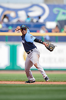 Trenton Thunder shortstop Wendell Rijo (12) throws to first base during a game against the Hartford Yard Goats on August 26, 2018 at Dunkin' Donuts Park in Hartford, Connecticut.  Trenton defeated Hartford 8-3.  (Mike Janes/Four Seam Images)