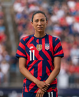 EAST HARTFORD, CT - JULY 5: Christen Press #11 of the USWNT stands on the field during a game between Mexico and USWNT at Rentschler Field on July 5, 2021 in East Hartford, Connecticut.