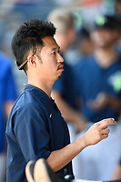Trainer Kiyoshi Tada of the Columbia Fireflies in a game against the Augusta GreenJackets on Sunday, July 30, 2017, at Spirit Communications Park in Columbia, South Carolina. Augusta won, 6-0. (Tom Priddy/Four Seam Images)