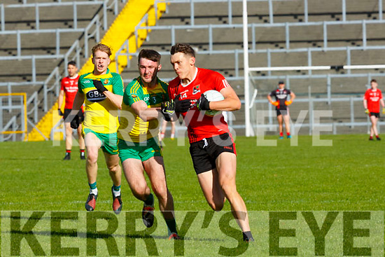 David Clifford Fossa takes on the Gneeveguilla full back during their Intermediate qf in Fitzgerald Stadium on Saturday