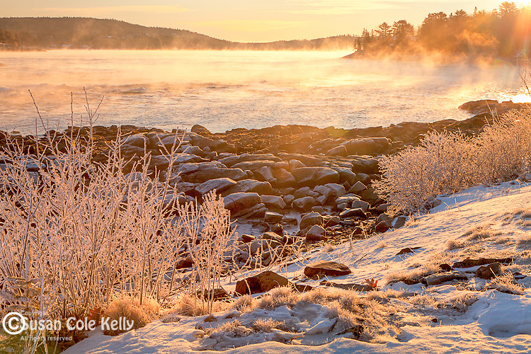 A frigid morning produces sea smoke at the Reversing Falls Preserve in Hancock, ME, USA
