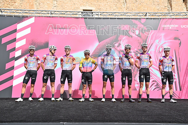 EF Pro Cycling at sign on before the start of Stage 2 of the 103rd edition of the Giro d'Italia 2020 running 149km from Alcamo to Agrigento, Sicily, Italy. 4th October 2020.  <br /> Picture: LaPresse/Gian Mattia D'Alberto | Cyclefile<br /> <br /> All photos usage must carry mandatory copyright credit (© Cyclefile | LaPresse/Gian Mattia D'Alberto)