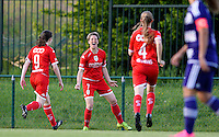 20160520 - TUBIZE , BELGIUM : Standard's Aline Zeler (7) pictured celebrating her goal and the 0-1 lead for Standard during a soccer match between the women teams of RSC Anderlecht and Standard Femina de Liege , during the sixth and last matchday in the SUPERLEAGUE Playoff 1 , Friday 20 May 2016 . PHOTO SPORTPIX.BE / DAVID CATRY