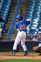 Jaren Shelby (33) of Tates Creek High School in Lexington, Kentucky playing for the Chicago Cubs scout team during the East Coast Pro Showcase on July 28, 2015 at George M. Steinbrenner Field in Tampa, Florida.  (Mike Janes/Four Seam Images)