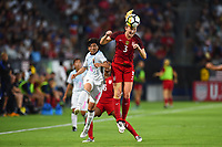 Carson, CA - Thursday August 03, 2017: Miho Manya, Samantha Mewis during a 2017 Tournament of Nations match between the women's national teams of the United States (USA) and Japan (JPN) at the StubHub Center.