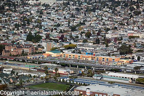 aerial photograph BART station Oakland, California