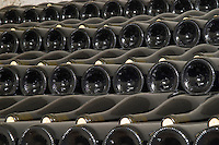 Bottles aging in the cellar. Domaine Gravallon Lathuiliere, Morgon, Beaujolais, France