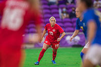ORLANDO, FL - FEBRUARY 24: Adriana Leon #19 of the CANWNT waits for the ball during a game between Brazil and Canada at Exploria Stadium on February 24, 2021 in Orlando, Florida.