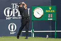 16th July 2021; Royal St Georges Golf Club, Sandwich, Kent, England; The Open Championship Tour Golf, Day Two; Patrick Reed (USA) hits his driver from the tee at the 1st hole