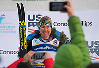 Caitlin Patterson  of Craftsbury GRP after winning the Women's 20k classic during the 2018 U.S. National Cross Country Ski Championships at Kincaid Park in Anchorage.