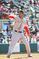 Greenville Drive pitcher Cody Kukuk #25 on the mound during a game against the Charleston RiverDogs at Joseph P. Riley Jr. Ballpark  on April 9, 2014 in Charleston, South Carolina. Greenville defeated Charleston 6-3. (Robert Gurganus/Four Seam Images)