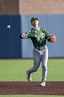 Eastern Michigan Eagles shortstop Tyler Hopkins (17) makes a throw to first base during the NCAA baseball game against the Michigan Wolverines on May 8, 2019 at Ray Fisher Stadium in Ann Arbor, Michigan. Michigan defeated Eastern Michigan 10-1. (Andrew Woolley/Four Seam Images)