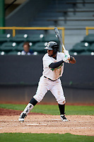Clinton LumberKings shortstop Luis Rengifo (1) at bat during a game against the Lansing Lugnuts on May 9, 2017 at Ashford University Field in Clinton, Iowa.  Lansing defeated Clinton 11-6.  (Mike Janes/Four Seam Images)