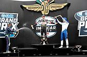 #21: Rinus VeeKay, Ed Carpenter Racing Chevrolet<br /> #51: Romain Grosjean, Dale Coyne Racing with RWR Honda<br /> #10: Alex Palou, Chip Ganassi Racing Honda<br /> Victory Lane, champagne