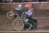 Heat 14: Kim Nilsson (red) and Lewis Bridger (white) - Lee Richardson Memorial Speedway Meeting at Arena Essex Raceway, Purfleet - 28/09/12 - MANDATORY CREDIT: Gavin Ellis/TGSPHOTO - Self billing applies where appropriate - 0845 094 6026 - contact@tgsphoto.co.uk - NO UNPAID USE.