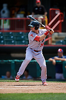 Reading Fightin Phils center fielder Aaron Brown (27) at bat during a game against the Erie SeaWolves on May 18, 2017 at UPMC Park in Erie, Pennsylvania.  Reading defeated Erie 8-3.  (Mike Janes/Four Seam Images)