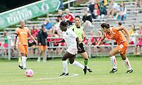 Eniola Aluko, pursued by #1 Yael Averbuch..Saint Louis Athletica defeated Sky Blue FC 1-0 at Anheuser-Busch Soccer Park, Fenton, Missouri.